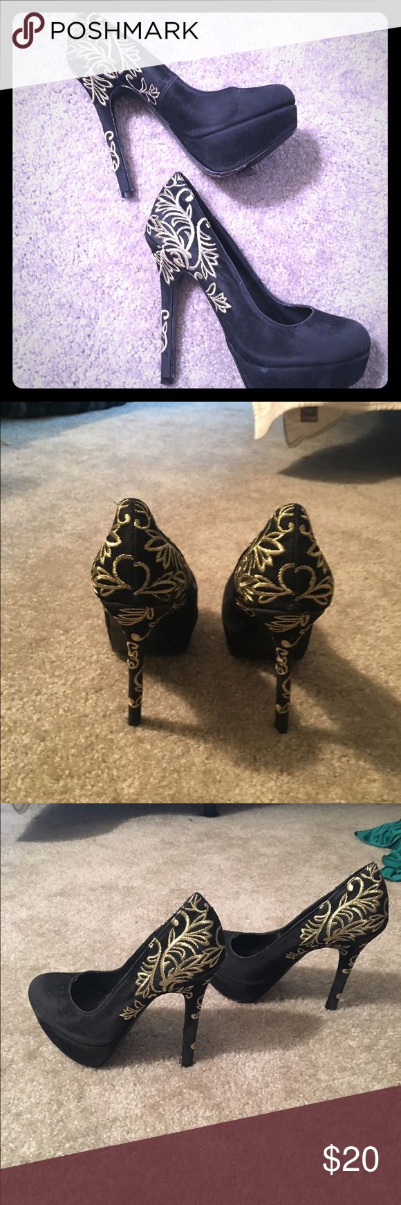 "Colin Stuart ""angel wings"" heels Colin Stuart ""angel wings"" heels - beautiful black heels with gold scroll on back heels.   Heels are 5inches inclusive of Platform at 1 1/2inches Colin Stuart Shoes Heels"