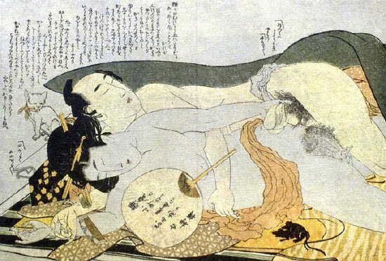 Exhausted Lovers by Katsushika Hokusai ca. 1810