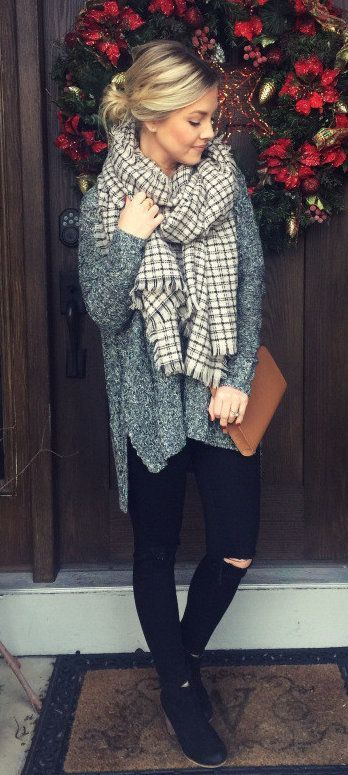 Pinterest||EmmCornett . . . . . . . . . #fall #outfits women's white and gray checked scarf