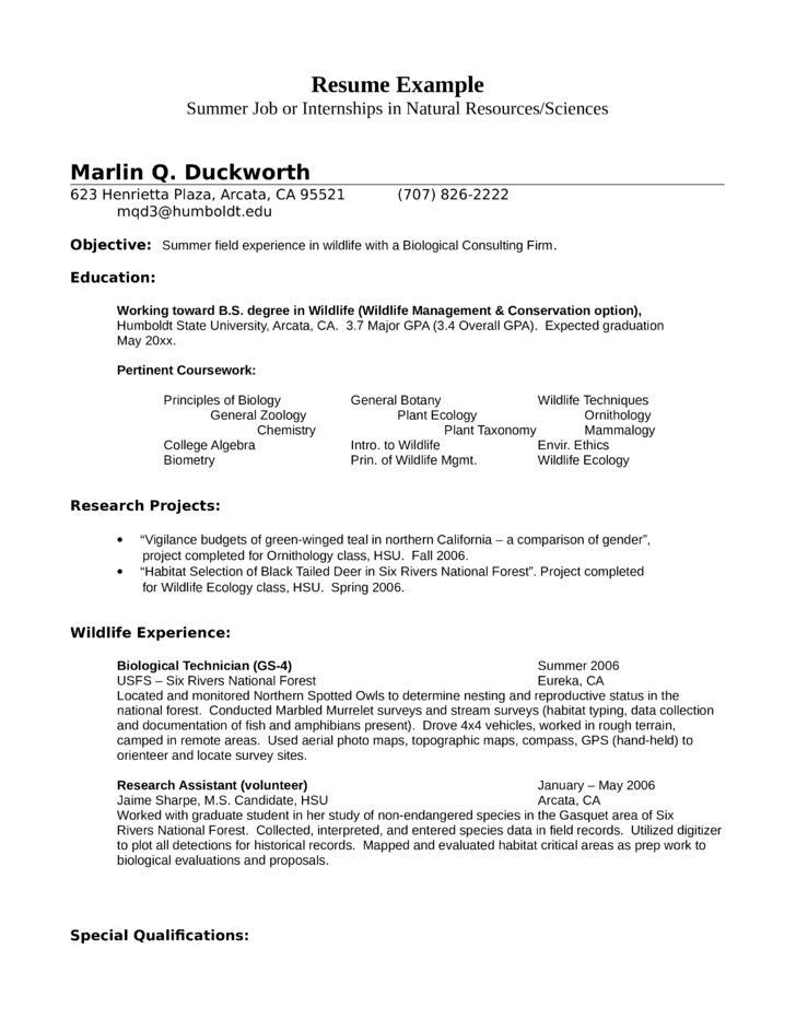 Zoology Resume Examples Pinterest Sample resume, Resume and