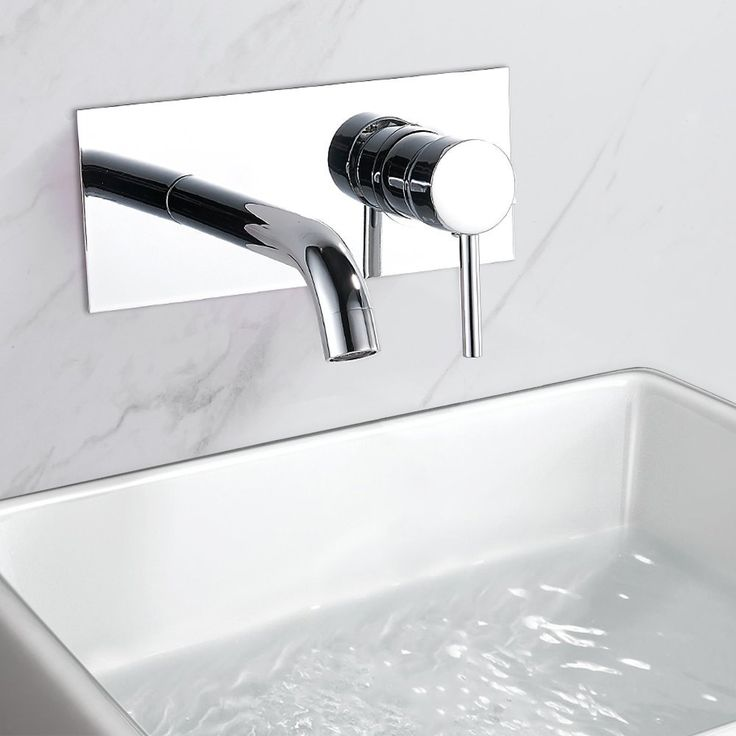 Bathroom Basin Taps Wall Mounted Mono Chrome Monobloc Cloakroom Single Level Mixer Faucet: Amazon.co.uk: DIY & Tools