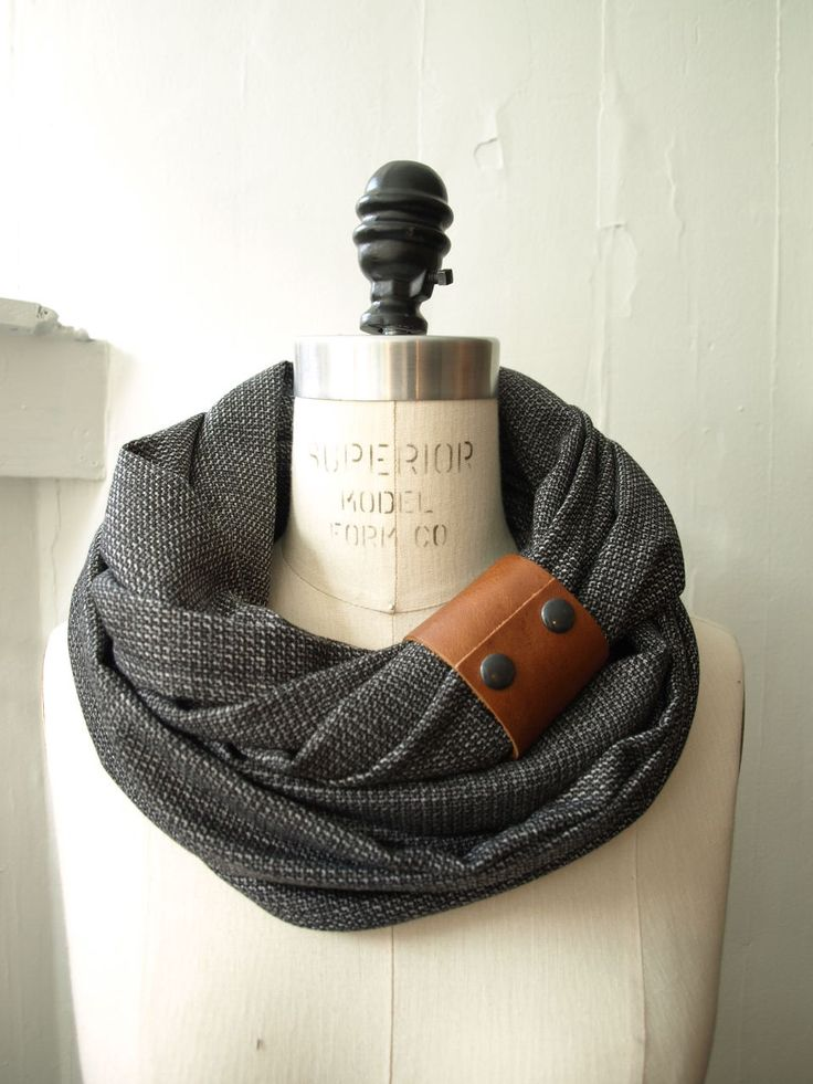 Chunky charcoal circular infinity scarf. Leather cuff.