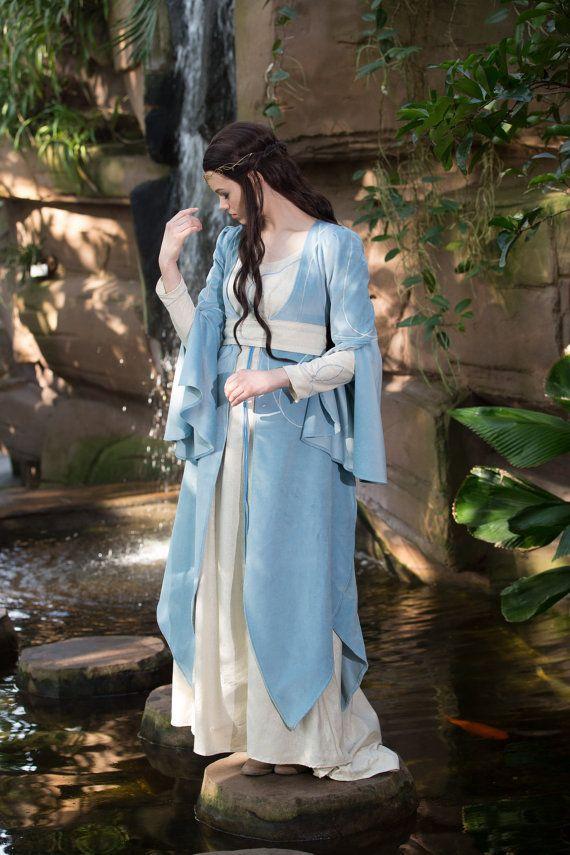 Elfen dress Nemirel, elvish dress, medieval dress, elvish wedding dress, water spirit dress, Size XS-S, Lord of the Rings, fairy tale dress