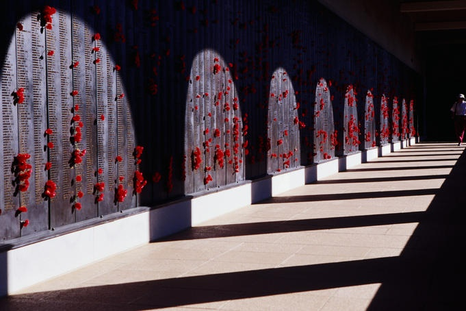 Poppies placed on Roll of Honour at Australian War Memorial.