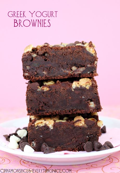 Greek Yogurt Brownies (no eggs, butter or oil = no pudge) These are soooo yummy!  Landyn minus the nuts