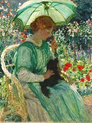 The Green Parasol 1912 Emanuel Phillips Fox - Australian artist 1865 - 1915