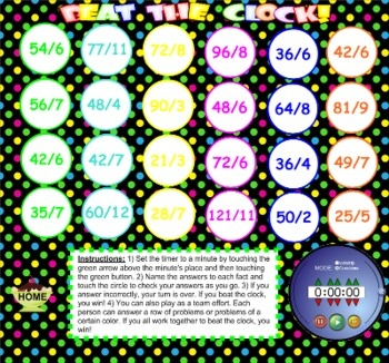 This Smart Board file contains 3 fun games to practice division facts and vocabulary - Candy Land, Hungry Monkeys, and Beat the Clock. (Common Core Aligned: STRAND - Use the four operations with whole numbers to solve problems.)