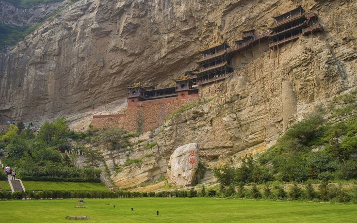 Hanging Temple, Heng Shan - Rickety wooden shrines to China's three main faiths, suspended on a cliff-face by flimsy-looking scaffolding