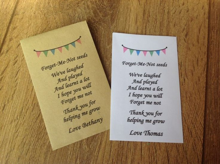 Personalised Forget Me Not Seeds Nursery Pre School Teacher Poem Thank You Gift