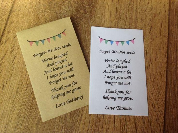 Personalised Forget Me Not Seeds Nursery Pre School Teacher Poem Thank You Gift