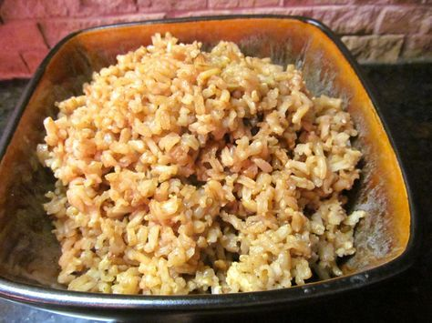 French Onion Brown Rice:   Since the original post, I've retired my old Aroma rice cooker (white) and upgraded to the new and savvy stainless version:-)  French onion brown rice is the BEST brown rice ever. Loaded with rich, beefy onion flavor, this good-for-you grain will become a family fave!  Growing up, I