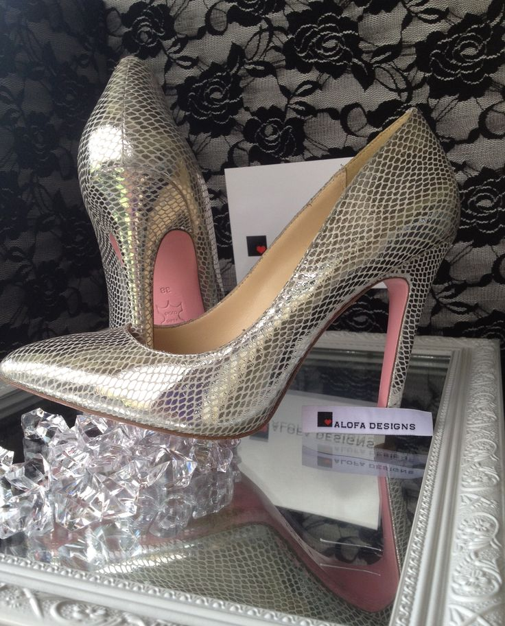 Silver Snake stilettos also available in black