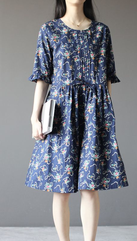 Blue floral cotton dress sundress plus size fit flare dress half sleeve