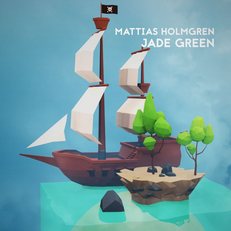 Lowpoly art single cover for the song JADE GREEN.