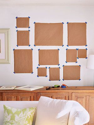 Picture Perfect - mapping out a picture wall  http://www.lhj.com/style/decorating/makeovers/decorating-with-family-photos/