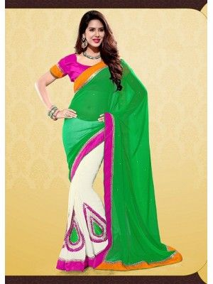 #BOLLYWOOD #CIFFON HALF HALF #SAREE WITH EMBROIDERED PATCHES #PrettyStyle #UK