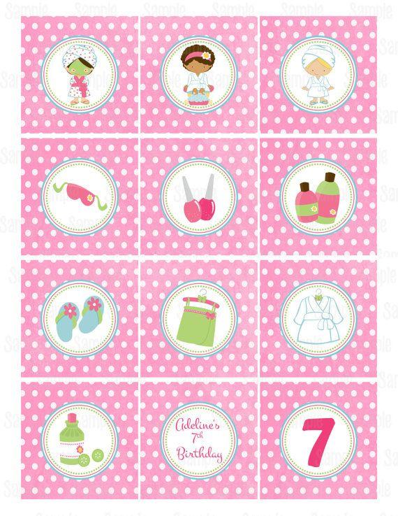 Spa imprimible Cupcake Toppers por PartyInnovations09 en Etsy                                                                                                                                                                                 Más