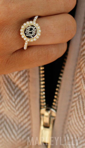 Swooning over this gold Monogrammed Pearl Ring from Marleylilly! On sale now >> https://marleylilly.com/product/monogrammed-pearl-ring/