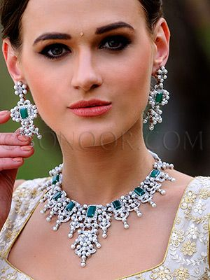 NEC/1/3553 Fanan Necklace Set with Earrings in silver rhodium finish studded with cubic zircons, pearls and green jade stones