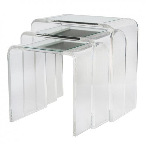 Set Of Three Lucite Nesting Tables With Mirrored Surface