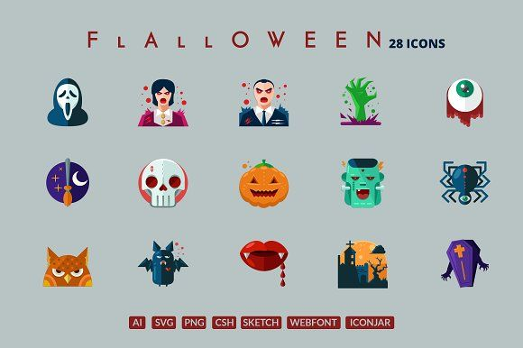 29 Flat Detailed Halloween Icons by roundicons.com on @creativemarket