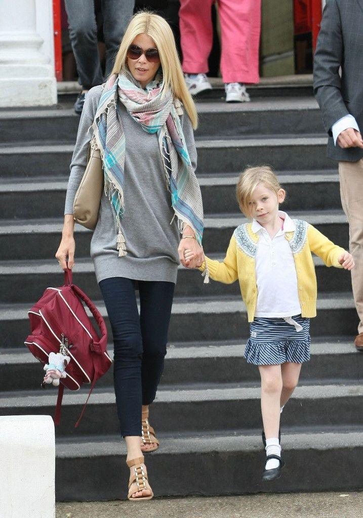 Claudia Schiffer on the school run with her daughter Clementine.  #claudiaschiffer