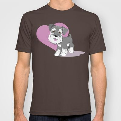 Miniature Schnauzer Puppy Dog Adorable Baby Love T-shirt by Tazmaa's Anime & Illustration Studio - $22.00