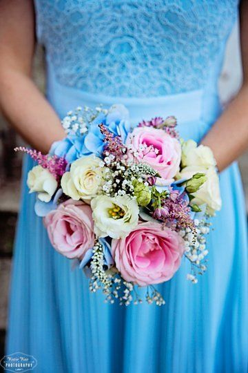 Pastel blue, pink summer bouquet. My sister's bridemsaids bouquet at our wedding.  Made by Renee's Flowers and Landscaping  https://www.facebook.com/pages/Renees-Flowers-and-Landscaping/197119304849?ref=aymt_homepage_panel