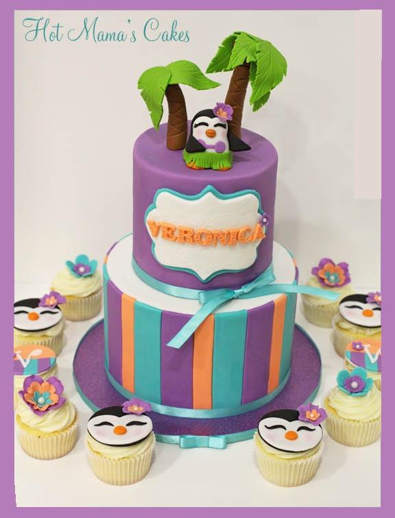 Hula Penguin cake.