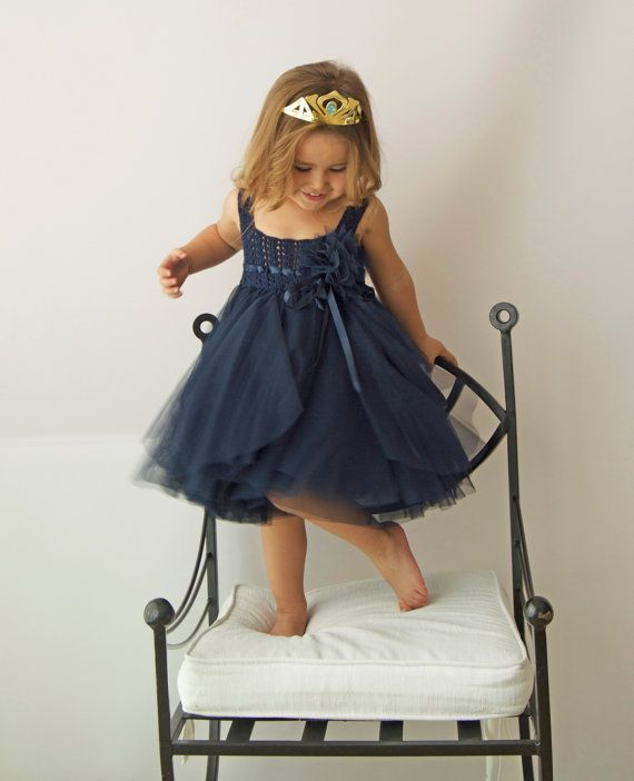 Navy Blue Tulle Dress with Empire Waist and от AylinkaShop