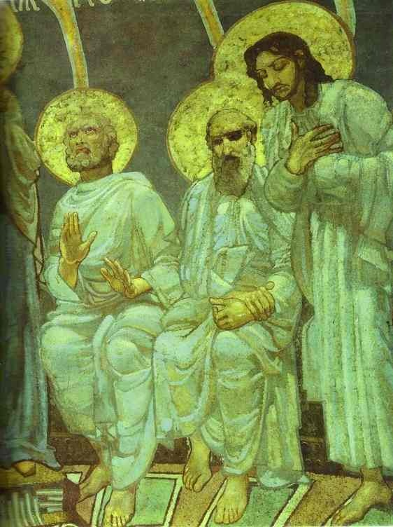 Pentecost (detail) by Mikhail Vrubel, fresco, 1884, St. Cyril's, Kiev