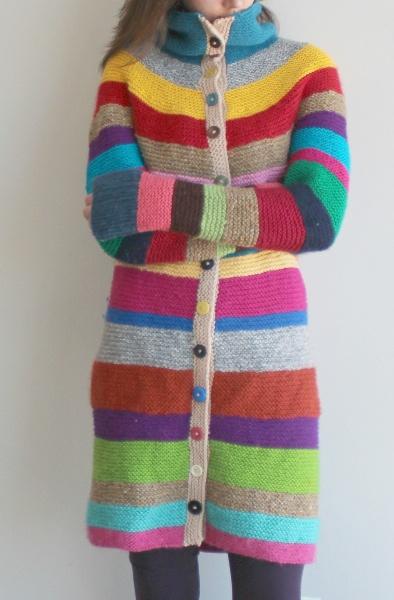 A long scrappy sweater in garter stitch.