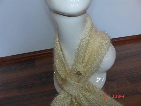 Knitted Scarf / Shawl / Cream on Etsy, $10.00