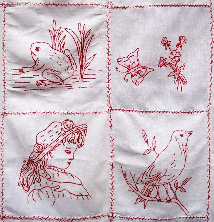 redwork patterns | Antique-Redwork-Tablecloth-9