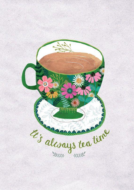 It's Always Tea Time...Giclee print of an original illustration @drawnbyrebeccajones