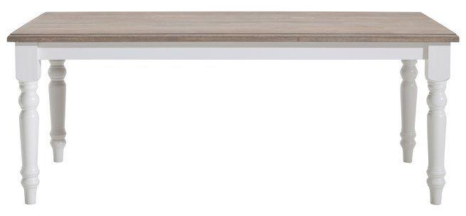 Esstisch Natura Rockfort, weiß antik, Platte Eiche oil grey, 4-Fuß Tisch, runde Beine, fest, Abmessung ca. 100x78x200 cm
