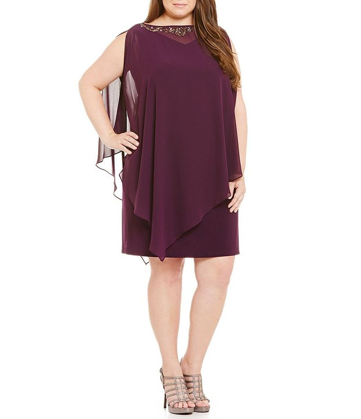 T18 $83 Raisin:S.L. Fashions Plus 2-Piece Capelet Sheath Dress