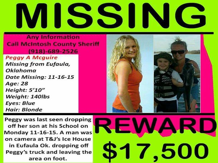 #PeggyMcGuire MISSING FROM EUFAULA, OKLAHOMA SINCE 11 /16/2015. $$ 17,500 REWARD. PLEASE REPIN