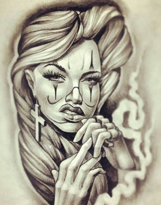 232 best chicano images on pinterest tattoo art chicano for Chicano clown girl tattoos