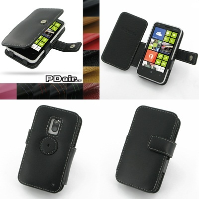 PDair Leather Case for Nokia Lumia 620 - Book Type (Black)