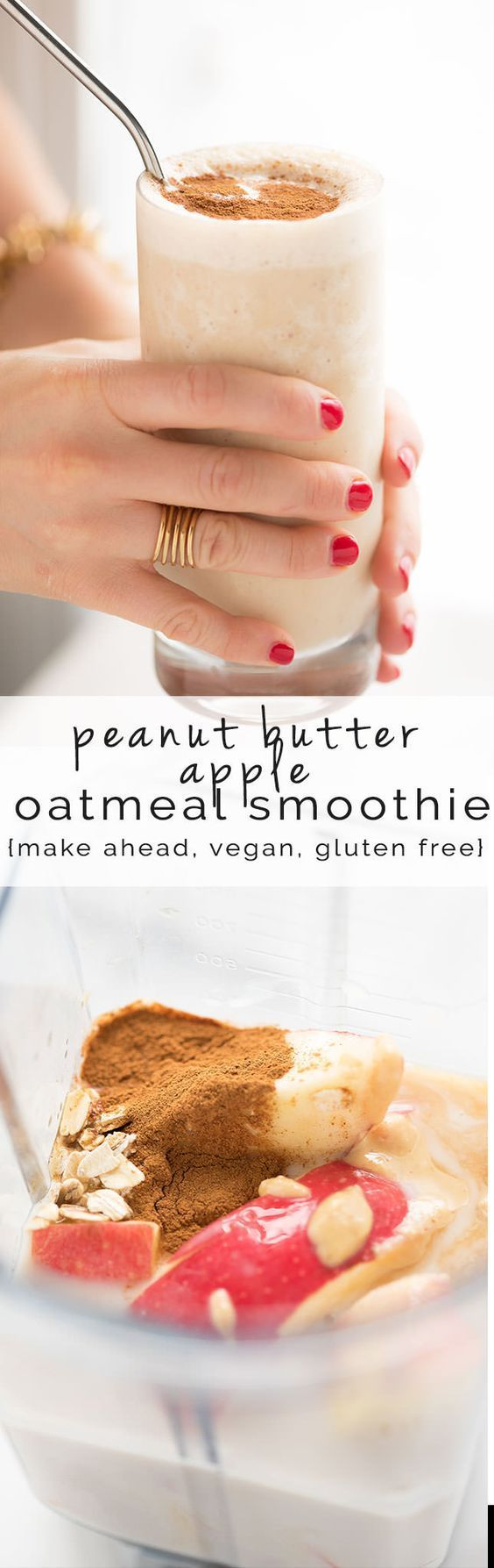 Apple Oatmeal Smoothie Recipes is easy, healthy filled with Peanut Butter. {Breakfast, Vegan, instant, cinnamon, Weightloss, Fruit, Skinny, Protein}