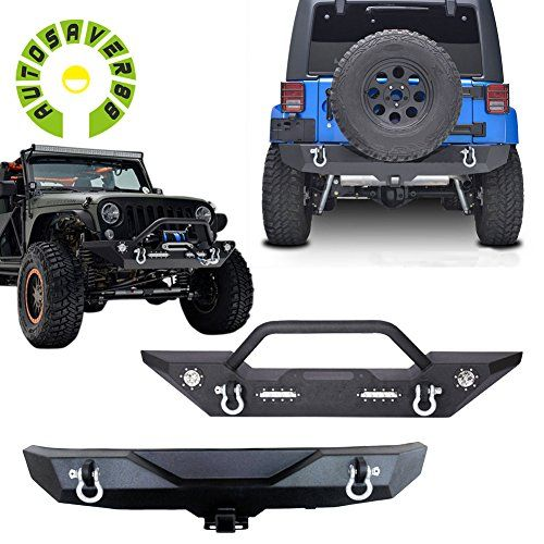 AUTOSAVER88 JK Jeep Wrangler Front Bumper with LED Lights and Winch Plate and Rear Bumper with Hitch Receiver