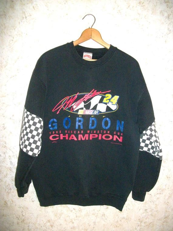 24cb2c96a5df1 1995 NASCAR Winston Cup Champion Jeff Gordon 24 Black Crewneck Sweatshirt  Nutmeg Pullover Graphic Grunge 90s Retro Fashion Mens XL