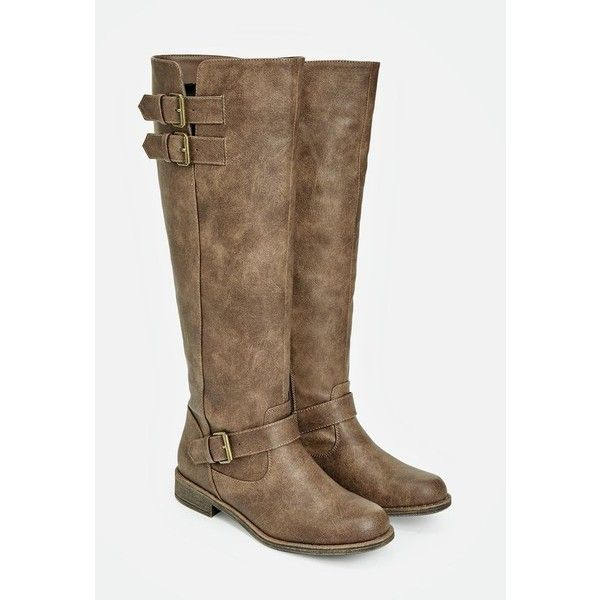 Justfab Flat Boots Jurnee ($40) ❤ liked on Polyvore featuring shoes, boots, brown, flat knee high boots, brown knee high boots, tall flat boots, knee high platform boots and wide calf knee high boots