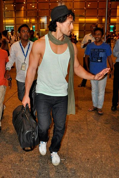 "Tiger Shroff at Mumbai airport For the shooting of the music video, ""befikra""!!!"
