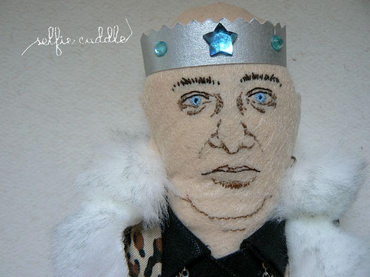 fabric handmade doll, portrait, selfie, Slovak singer, funky music, Ivan King Vereš, face detail