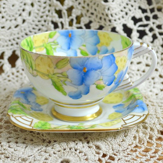 Paragon Art Deco Duo Blue Honesty Flowers Pattern by Wicksteads