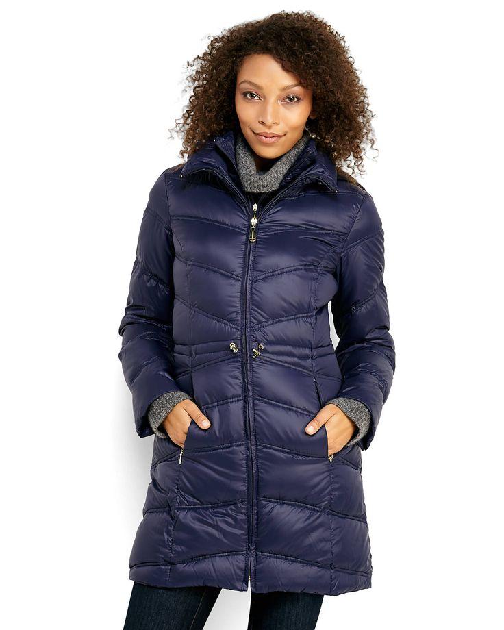 ELLEN TRACY Hooded Packable Down Coat
