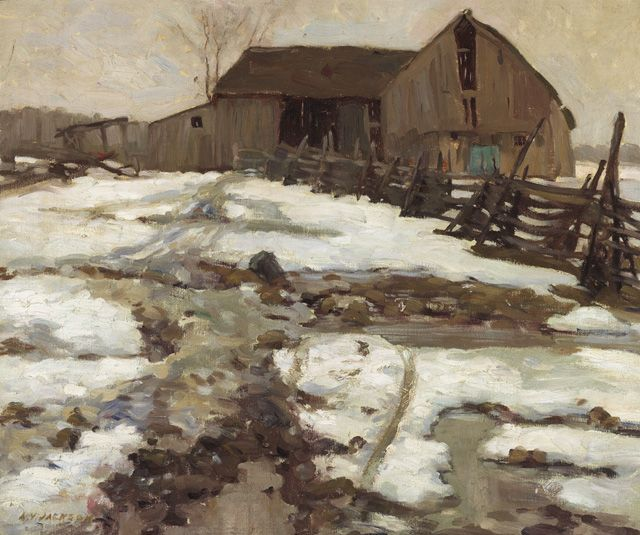 """Sweetsburg, Quebec,"" A.Y. Jackson, 1910, oil on canvas, 21.25 x 26.25"", National Gallery of Canada."