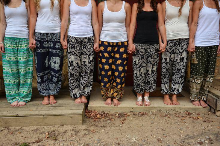 Bridesmaids wearing elephant pants